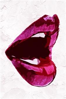 Shajeel Rehman - Red Lips Art _01 Oil on Canvas, Paintings