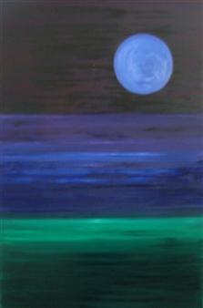 Mario España - Moonscape Oil on Canvas, Paintings