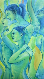 Gilberto Arriaza - Mujeres Oil on Canvas, Paintings