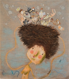 Mar De Redin - Ms Breva Doll and her Birds Mixed Media on Canvas, Mixed Media