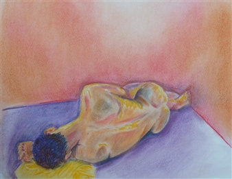 Martin Randall Joyce - Reclining Nude Chalk on Paper, Drawings