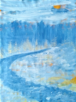 Yu He - Winter Evening No.2 Acrylic on Canvas, Paintings