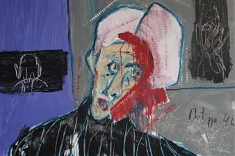 Philippe Thélin - Wounded in the Head Acrylic on Canvas, Paintings