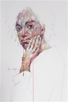 Becky Sungja Kim - WC Portrait 1704 Watercolor on Paper, Paintings