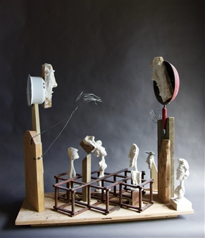 Emil Silberman - The Game Wood & Mixed Media, Mixed Media