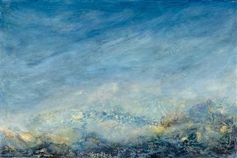 Rebecca Katz - Big Sky Acrylic & Oil Stick on Panel, Paintings