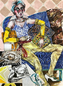 Michael Dolen - Circus Performer; After the Show Colored Lithograph and Mixed Media on Paper, Mixed Media