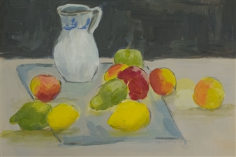Jutta Ebeling-Dehnhard - Fruits and Jug Still Life Acrylic on Carton Board, Paintings