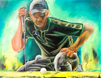 Jutta Schulte - Golfer 4 Acrylic on Canvas, Paintings