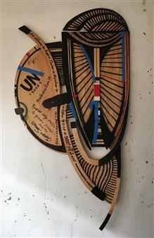 Craig Freeman - War Horse Wood, Acrylic, Tape, Sculpture