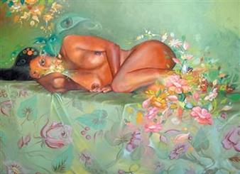 Gilberto Arriaza - Desnudo Recostado Oil on Canvas, Paintings
