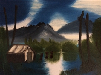 Aaron Cristofaro - Cabin Home Oil on Canvas, Paintings