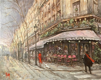 Rody - Café Flore Oil on Canvas, Paintings