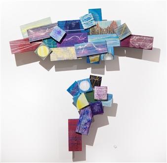 Yoshiko Kanai - On the Way #2 Acrylic & Thread on Wood, Mixed Media