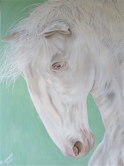 Rosemery Torres - White Horse Acrylic on Canvas, Paintings