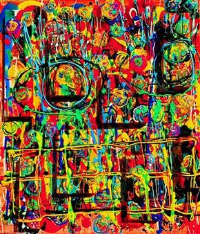 Miho Nishibe - Bull's eye! Acrylic & Oil on Canvas, Paintings