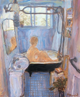 Jenny Ahmad - Light-blue Bathroom and Nude in Bath Oil on Canvas, Paintings