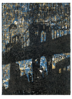 Satoco Yamamoto - Brooklyn Bridge (3 colored) Woodblock print, Speedball gold color ink printing, Prints