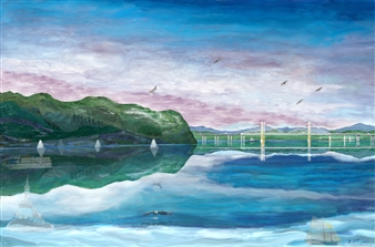 Michael Victor ▪ MVR - The Mario M. Cuomo Bridge at the Tappan Zee Crossing_Span 1 Hard Pastels with Multi-media, Prints