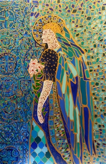 Salome Chelidze - Golden Angel Acrylic & Oil on Canvas, Paintings