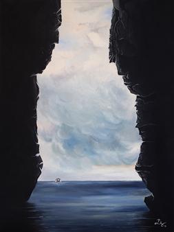 Elisabeth López - Between Rocks Oil on Canvas, Paintings