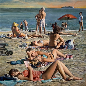 Alexandr Mischan - Monday on a Brighton Beach Oil on Canvas, Paintings