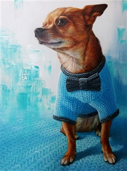 Jae Young Park - Woolscape - Chihuahua Outing Oil on Canvas, Paintings