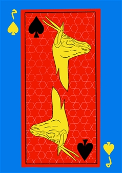 Maisoon Al Saleh - Yellow Gazelle of Spades Digital Artwork on Plexiglass, Digital Art