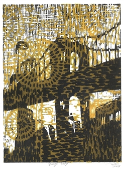 Sato Yamamoto - Brooklyn Bridge (2 colored) Woodblock print, Speedball gold color ink printing, Prints