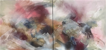 Brittany Clifford - Peach Colored Skies, We Feel the Sunrise Acrylic & Spraypaint on Canvas, Paintings