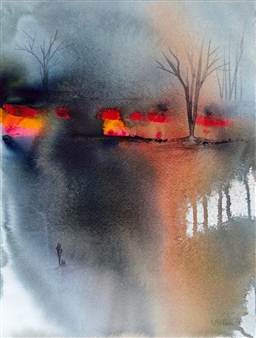 Rine Philbin - Setting Challenges Watercolor on Paper, Paintings