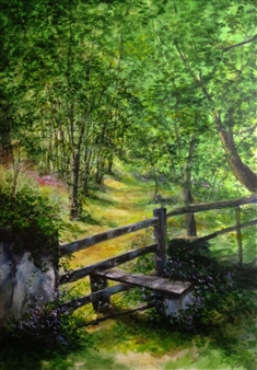 Lizzy Forrester - Summer Stroll Oil on Canvas, Paintings