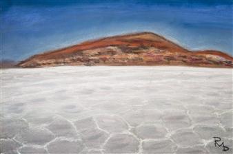 Raul Mariaca Dalence - Salar Uyuni - Ground and Mountain Pastel on Canvas, Paintings