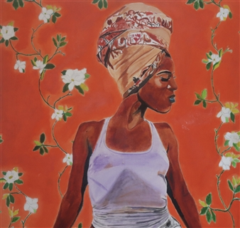 Monel Aliote - Head Wrap Acrylic & Oil on Canvas, Paintings