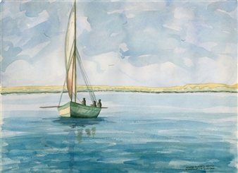 Ashraf Elsharif - Nile Boat Watercolor on Paper, Paintings