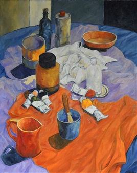 Stefano Puleo - Interior with Objects Oil on Linen, Paintings