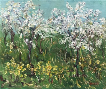 Mushegh Grigoryan - Spring Trees Oil on Canvas, Paintings