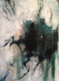 Stacie Hernandez - Black and Green Oil on Canvas, Paintings