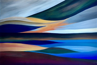 Rebecca Stenn - Abstract Seascape #1 Acrylic on Canvas, Paintings