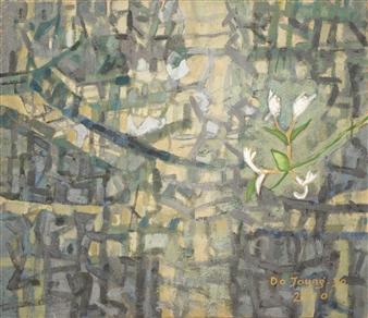 Soilart Jo-DoJoong - Honeysuckle Flower Soil on Canvas, Paintings