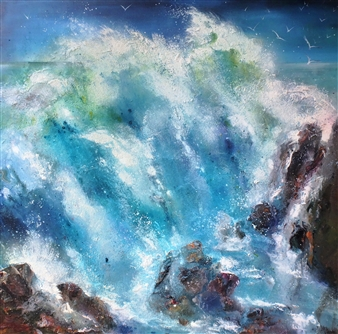 Caroline Degroiselle - Marine Exhilaration in a Volcanic Danse Acrylic on Canvas, Paintings