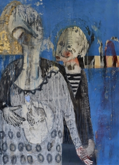 Melanie Young - Two Figures Acrylic & Ink on Paper, Paintings