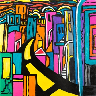 Linda Rosen - Going to the Bronx Acrylic on Canvas, Paintings