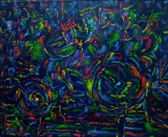 Miguel de la Cruz - Juntos en la Carretera Oil on Sized Canvas, Paintings