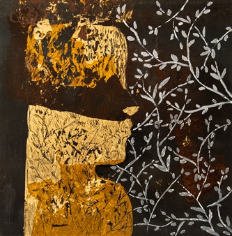 Sigrid Thaler - Roots 2 Gold Leaf and Mixed Media on treated Black Iron, Mixed Media