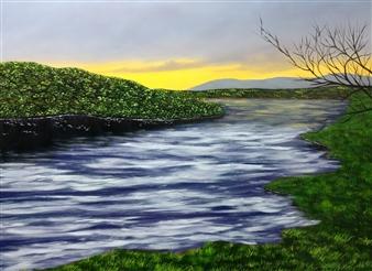 Hezekiah Baker Jr. - Rushing Water at Sunset Acrylic & Oil on Canvas, Paintings