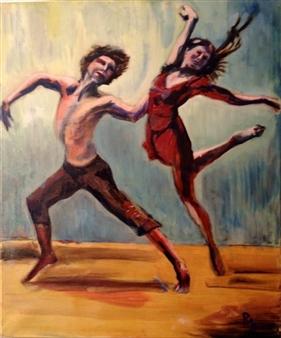 Raul Mariaca Dalence - Dans l'air Oil on Canvas, Paintings