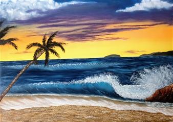 Hezekiah Baker Jr. - Sunset Surf Acrylic & Oil on Canvas, Paintings