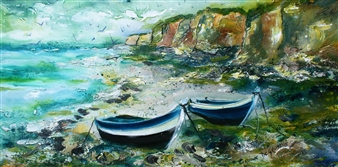 Caroline Degroiselle - My Cliffs with Azure Boats Acrylic on Canvas, Paintings
