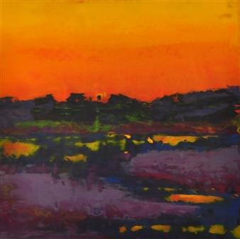 Pia Sjölin - Sunset in Maine Acrylic on Panel, Paintings